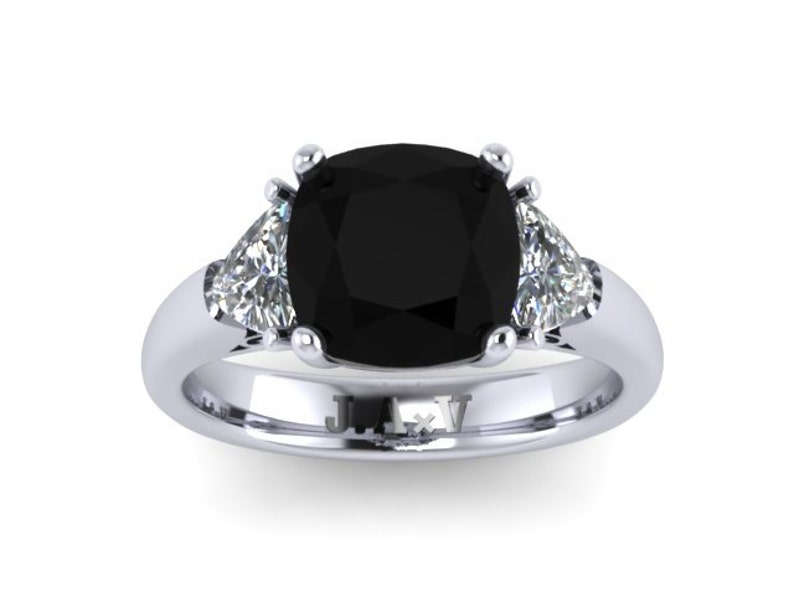 Platinum Engagement Ring Natural Cushion Cut Black Diamond Engagement Ring W 2 Trillion Cut Forever Brilliant Moissanite Side Stones V1107