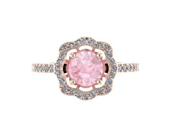 Diamond Flower Engagement Ring Morganite Engagement Ring 14K Rose Gold with 6.5mm Morganite Center Flower Gemstone Ring Uniuqe Gifts - V1078