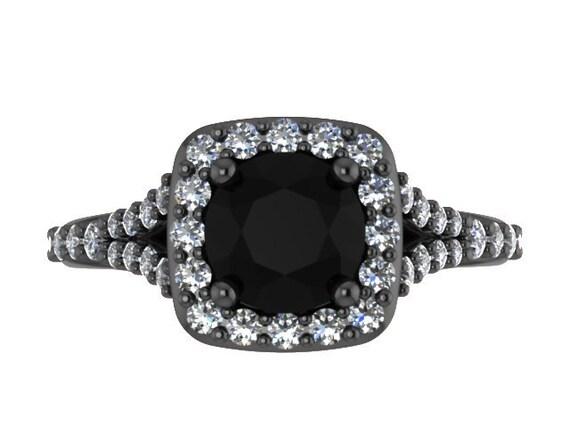 Czarny Diament Pierścionek Zaręczynowe Pierścionek Z Brylantem Etsy