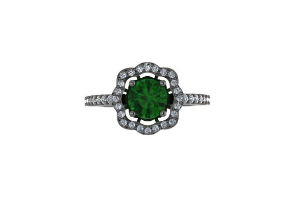 Emerald Enement Rings Etsy | Diamond Flower Engagement Ring Green Emerald Engagement Ring Etsy