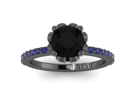 14k With Diamond Center Sapphire Wedding 15ct Blue Ring Round Engagement Gold Black 1 V1006 Natural v8mnNw0