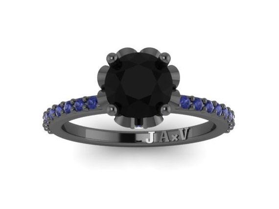 14k With Diamond Center Sapphire Wedding 15ct Blue Ring Round Engagement Gold Black 1 V1006 Natural v8mnNw0