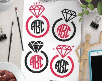 Diamond Ring svg, Wedding Monogram svg, Wedding Ring svg, Ring Monogram svg, Wedding Cut File, eps, png Cut Files for Silhouette for Cricut