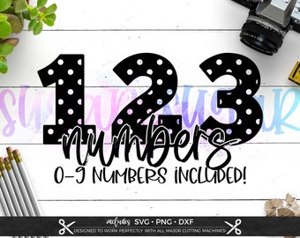 Polka Dot Numbers svg Files for Cricut