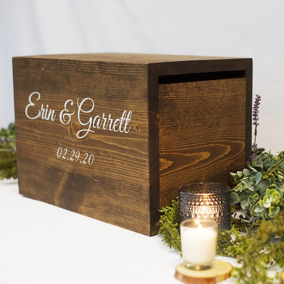 Locked card box, rustic wedding cards, card box with slot, wood card box,  honeymoon fund box