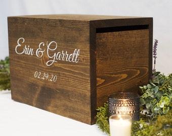Card Box with lock, Wedding Card Box, Wedding locked Box, rustic wedding card box, card holder, card box with slot, wedding card holder