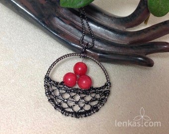 Three Red Berries Pendant, Silk, Steel Wire, Coral Beads ~ handmade needle lace in round frame-celebration of nature, abundance, fertility