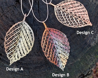Copper Beech Leaf Pendant in Copper wire-Original Handmade Bobbin Lace-unique, superbly crafted wearable art - choose from design A, B or C