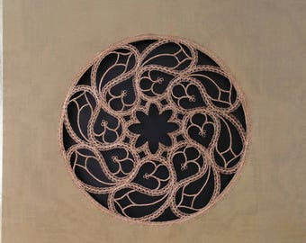 """Wall Art """"Reframed: Lost Art I"""", handmade bobbin lace in bronze wire on beige silk canvas, inspired by traditional Milanese lace"""