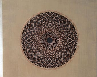 """Wall Art """"Reframed: Lost Art II"""", handmade bobbin lace in bronze wire on beige silk canvas, inspired by traditional circular lace patterns"""