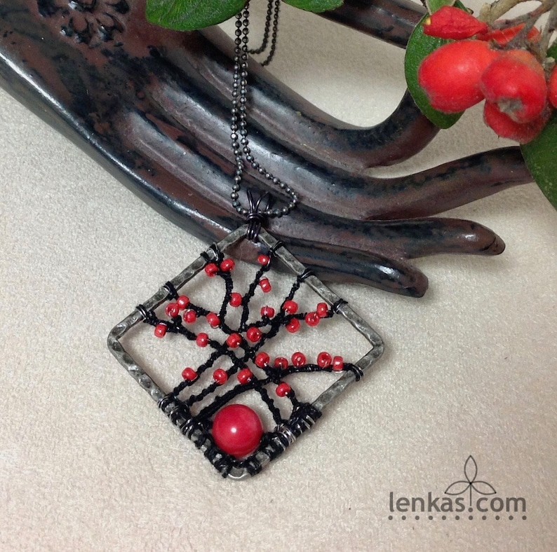Red Berries on Branches Pendant Silk and Stainless Steel image 0