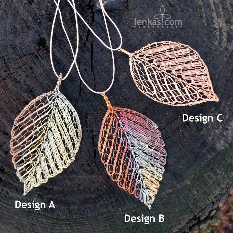 Copper Beech Leaf Pendant in Copper wire-Original Handmade image 0