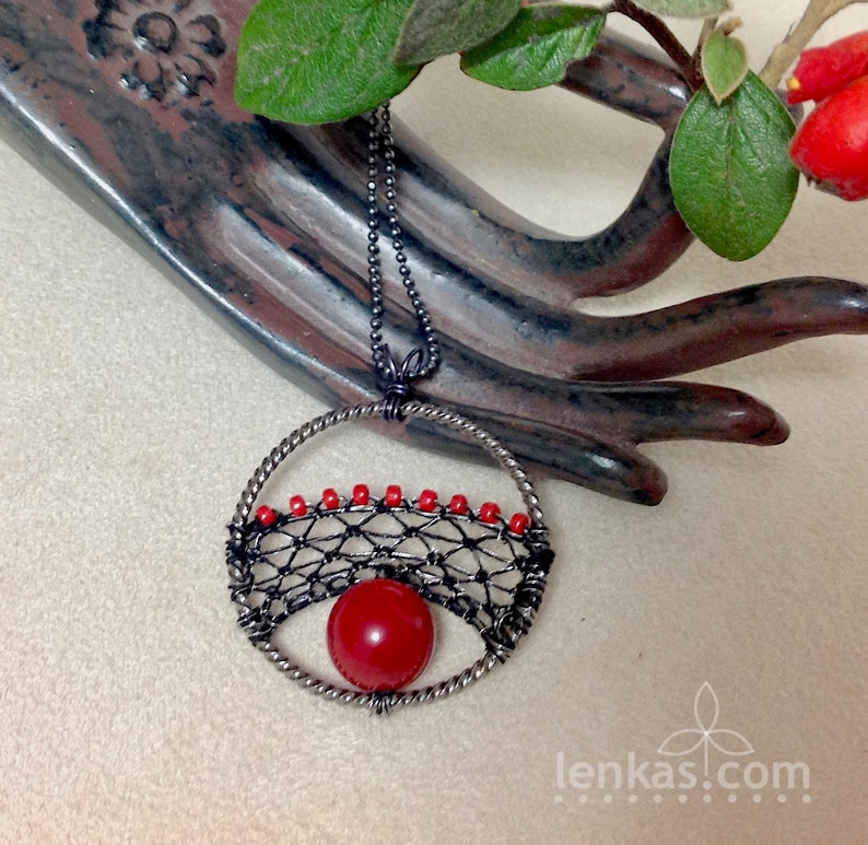 Red Fruit Pendant Black Silk and Steel Wire Red Coral and image 0