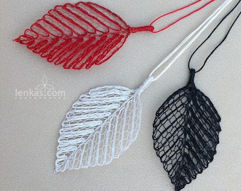 Beech Leaf Pendant- Silk Steel Yarn and Enamelled Copper-Original Design in Handmade Bobbin Lace - choose from red, ivory or black colour
