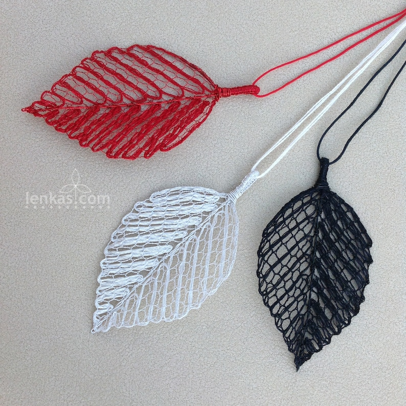 Beech Leaf Pendant Silk Steel Yarn and Enamelled image 0