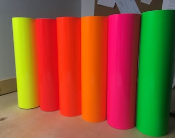 """12"""" x 12"""" Fluorescent Vinyl / Oracal 651 Fluorescent permanent sign vinyl - Neon 651 - permanent vinyl for all your projects for all cutters"""