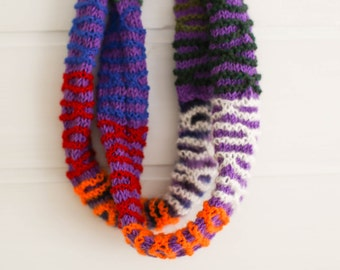 Hand made hand knitted multi-colour tubular neck wrap