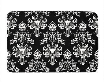 Bath Mat Black Haunted Mansion Wallpaper 16x24 Microfiber Bathmat