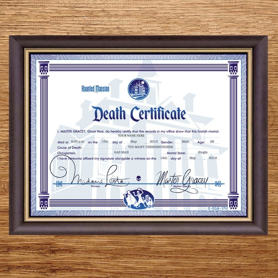 Disney Haunted Mansion Death Certificate Digital File Etsy