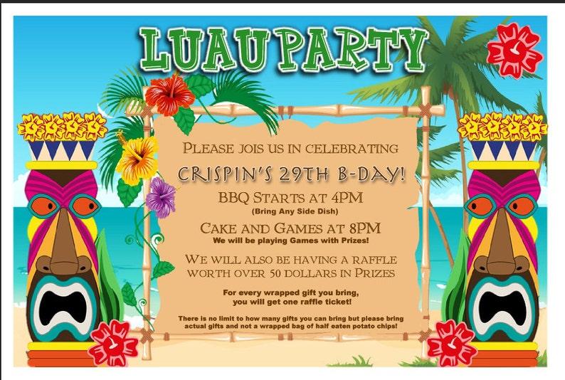 Customized Luau Party Invitation Digital File Hawaiian