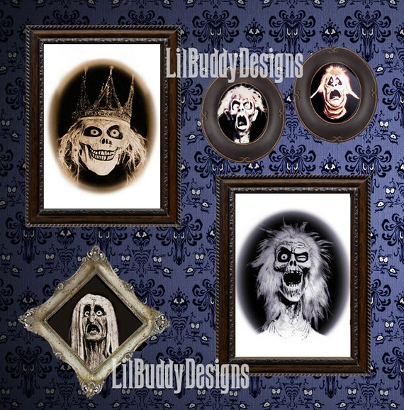 Five Framed Haunted Mansion Family Portraits From The Haunted Etsy
