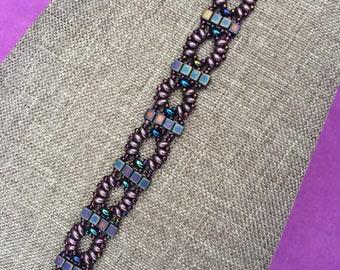 Dark Purple Super Duo Seed Bead Bracelet