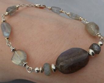 Sterling Silver Labradorite Wirework Bracelet