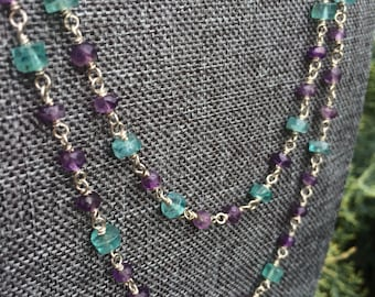 Double Stand Apatite, Amethyst and Sterling Silver Necklace