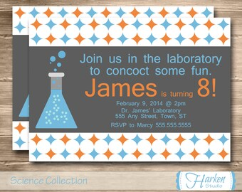 Science Birthday Party Invitation, Printable Science Birthday Invite, DIY, Digital, Personalized, Chemistry, Blue, Orange,