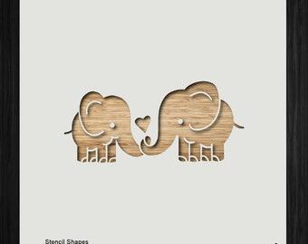 elephant stencil etsy