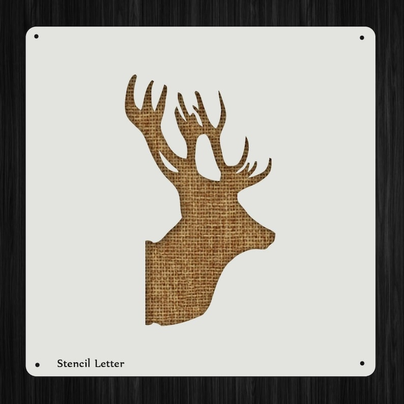 Elk Deer Head Style 1124 Diy Plastic Stencil Acrylic Mylar Etsy