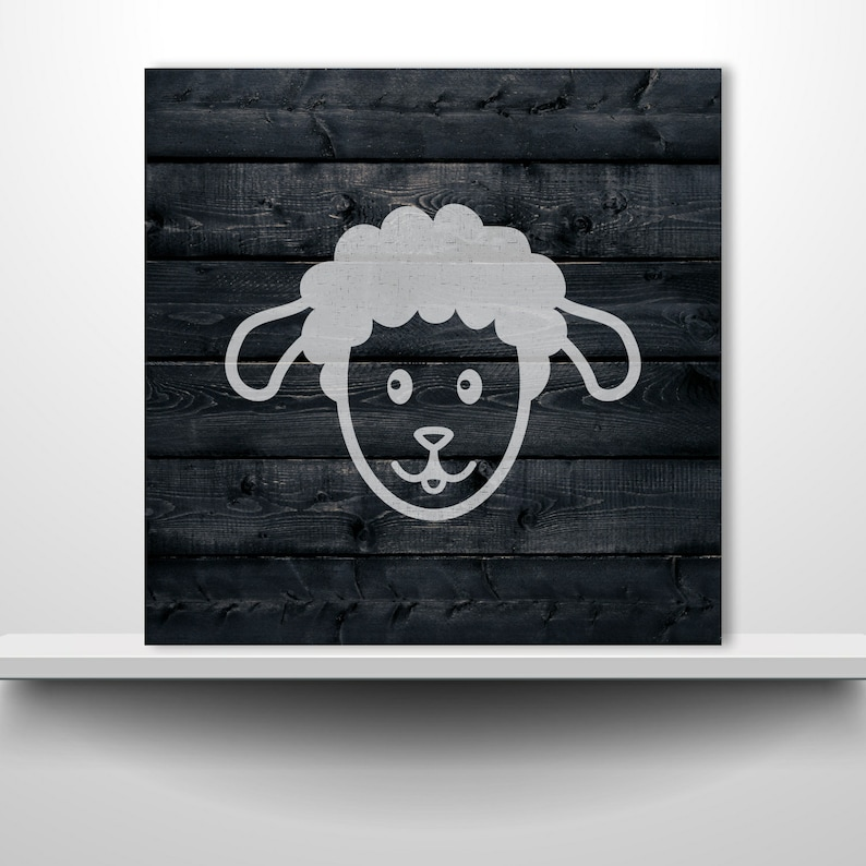 Stencil Plastic Mylar Stencil for Painting Crafts Signs Sheep Face Walls ID 1874447
