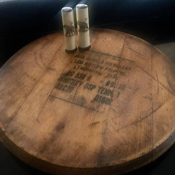 Authentic Jack Daniels Whiskey Barrel Head Lazy Susan Etsy