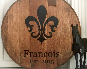 Personalized Kentucky Bourbon Barrel Head with Fleur-de-Lis - Great for a gift!