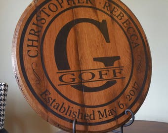 Personalized Bourbon Whiskey Barrel Head - Perfect Wedding Gift!