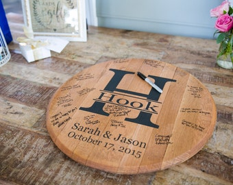Bourbon Barrel Head - Personalized Wedding Guest Book.