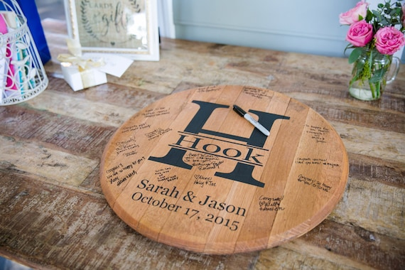 Bourbon Barrel Head Personalized Wedding Guest Book Etsy