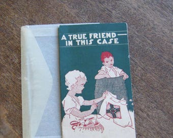 Vintage 1930s Needle Book 'True Friend In This Case'; Striking Expressionistic Lithograph; New Deal/NRA Symbol; Depression Era Collectible