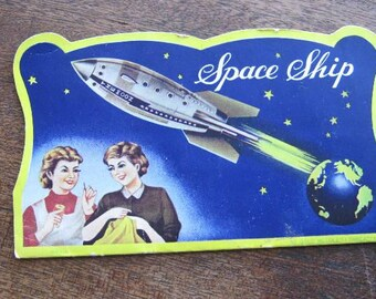 4 Midcentury Sewing Needle Books: Rocket/Space Ship Needles, Blue Chip Stamp, Sweetheart + Sewing Graphic Needle Book; U.S. Ship Included