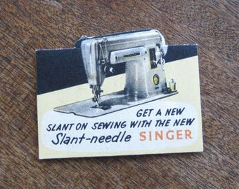 Rare Vintage Singer Slant-Needle Advertising Giveaway Hand Sewing Needles; Sewing Machine Graphic; Excellent/Unused; U.S. Shipping Included