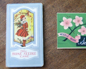 Lot Antique Sewing: Home Needle Case/Girl w/ Holly Graphic + Floral Sewing Basket Needles w/ Cellophane Advert Sleeve + Sweet Pinholder