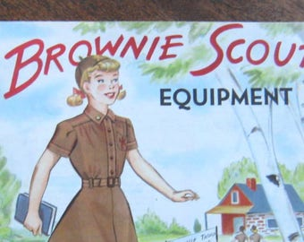 Cute Vintage Brownie Scout 1951 Catalog + 1955 Brownie Calendar; Vintage Brownie Clothes, Equipment, Activities; Sweet Scout Gift