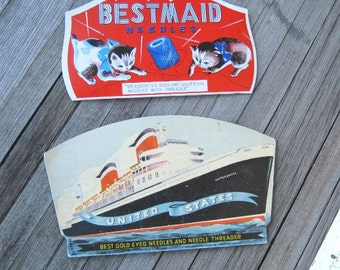 Nautical 'United States' Needle Book + Bestmaid Kitten Graphic Needle Book~Cruise Ship Sewing Needle Book; U.S. Shipping Included