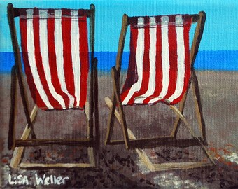 Scottish Artist, Deck Chairs, Painting, Acrylic painting, Seascape painting, seascape artist, Original Painting, Brighton Beach.