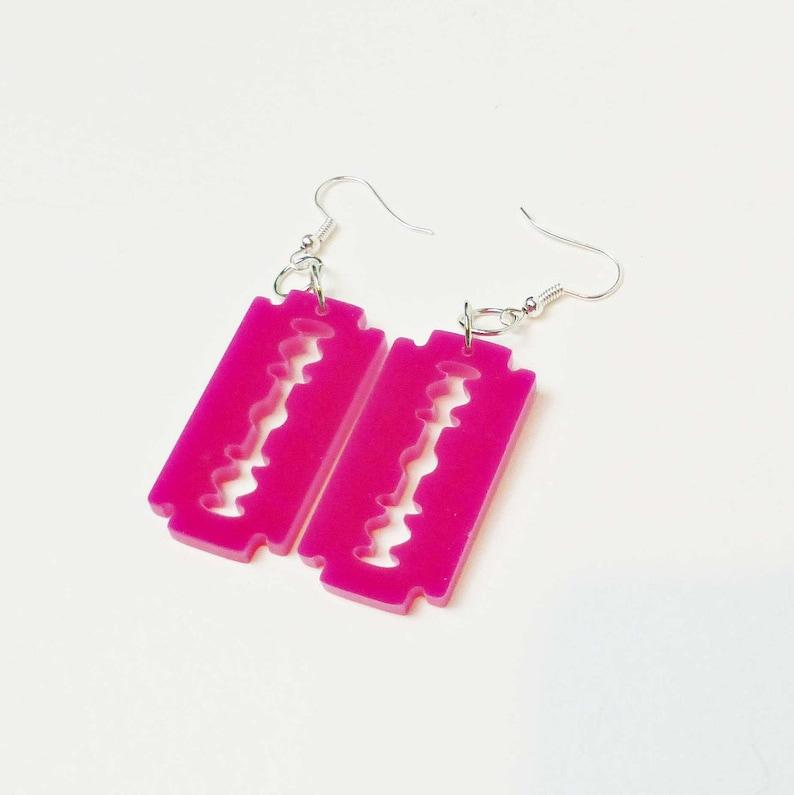 Him Earrings Razorblade Earrings Quirky Punk Droppers Halloween Earrings Gothic earrings Pink Razor Blade Danglers Emo Earrings