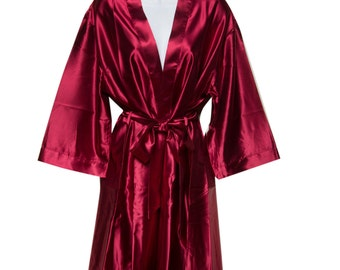 0ae06bce04 Burgundy Bridal Robes - Bridesmaid Robe - Plain Robes - Bride Robe -  Bridesmaid Gifts - Bridal Robes - Personalized Silk Monogramed Robes