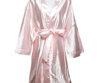 9d106a87a8 Pink Bridal Robes - Bridesmaid Robe - Plain Robes - Bride Robe - Bridesmaid  Gifts - Bridal Robes - Personalized Silk Monogramed Robes