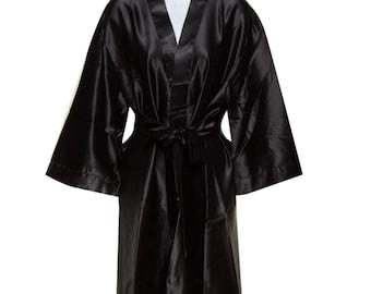 Black Bridal Robes - Bridesmaid Robe - Plain Robes - Bride Robe - Bridesmaid  Gifts - Bridal Robes - Personalized Silk Monogramed Robes 893d4a490