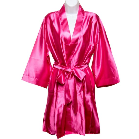 00f5602cf6 Hot Pink Bridal Robes Bridesmaid Robe Plain Robes Bride