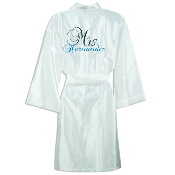 bridal robes personalized satin robe with name on the front etsy. Black Bedroom Furniture Sets. Home Design Ideas